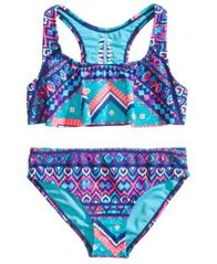 Image of Breaking Waves 2-Pc. Printed Flounce Bikini, Little & Big Girls