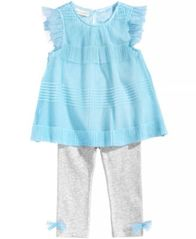 Image of First Impressions 2-Pc. Pleated Tunic & Leggings Set, Baby Girls, Created for Macy's