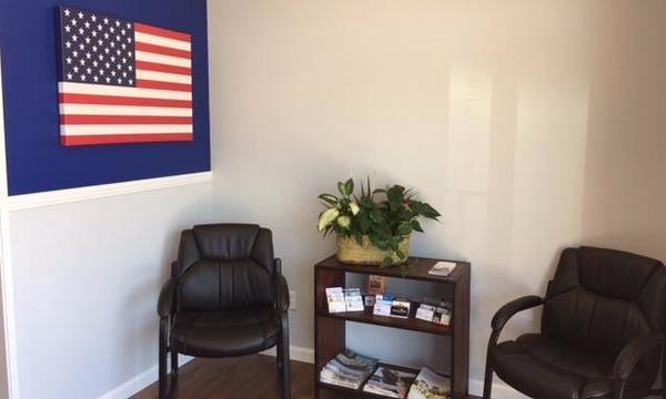 Corner of office with United States flag