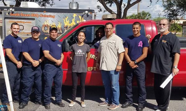 First Responders Complimentary BBQ.  Pictured with the Edinburg Fire Department