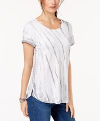 Image of Style & Co Tie-Dyed T-Shirt, Created for Macy's