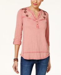 Image of Style & Co Embroidered Cotton Utility Top, Created for Macy's