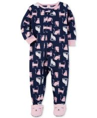 Image of Carter's 1-Pc. Cat-Print Footed Pajamas, Baby Girls (0-24 months)