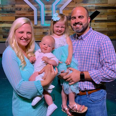 Agency owner Brandon Leonard with his wife, Alyssa and children Avery (3) and Turner (5 mo)