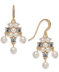 Image of Charter Club Gold-Tone Imitation Pearl & Crystal Drop Earrings, Created for Macy's
