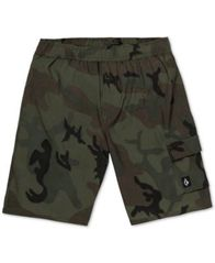 Image of Volcom Big Boys True Volley Camo-Print Swim Trunks