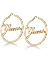 "Image of GUESS Crystal & Logo 2 1/4"" Hoop Earrings"