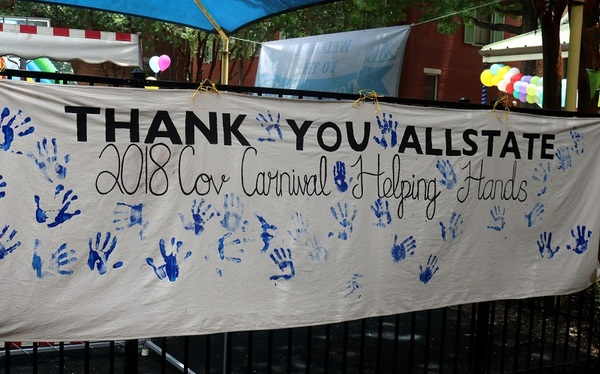 Photo of Thank You Allstate Sign at Covenant House Carnival 2018