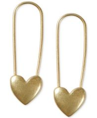 Image of Lucky Brand Gold-Tone Heart Safety Pin Drop Earrings