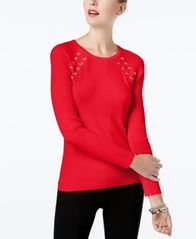 Image of INC International Concepts Laced-Shoulder Sweater, Created for Macy's