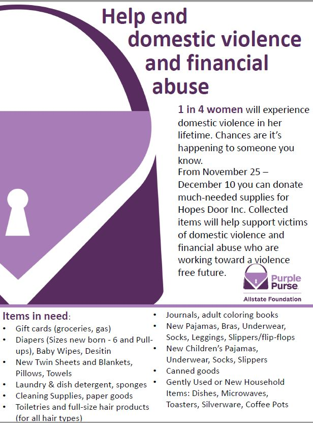 The Aste Agency - Supporting Hope's Door through the Allstate Foundation Purple Purse