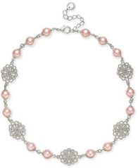 "Image of Charter Club Silver-Tone Filigree & Imitation Pearl Collar Necklace, 17"" + 2"" extender, Created for"