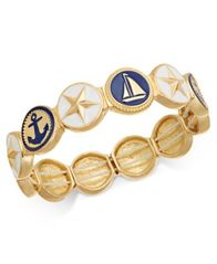 Image of Charter Club Gold-Tone Nautical Theme Enamel Multi-Disc Stretch Bracelet, Created for Macy's