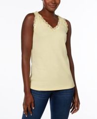 Image of Karen Scott Lace-Trim Tank Top, Created for Macy's