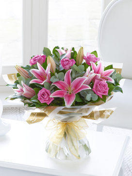 Image of Pink Rose and Lily Hand-tied