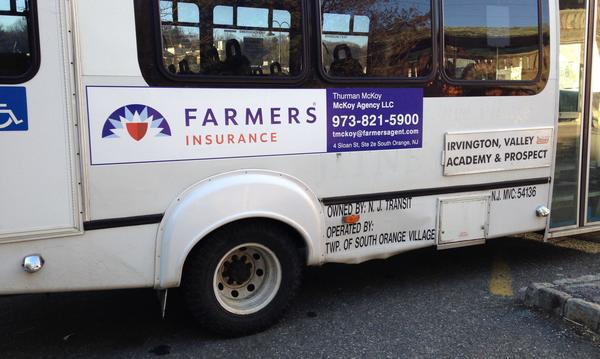 Advertising on community Jitney bus.