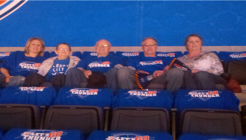 My Family enjoying a Dallas Mavs vs OKC Thunder Play off game.