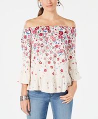 Image of Style & Co Petite Floral-Print Off-The-Shoulder Top, Created for Macy's