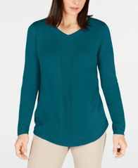 Image of Karen Scott Cotton Mixed-Knit Sweater, Created for Macy's