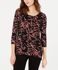 Image of Alfani Printed Woven-Back Top, Created for Macy's