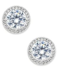 Image of Danori Silver-Tone Cubic Zirconia Framed Stud Earrings, Created for Macy's