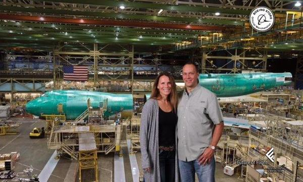 Steve and his wife, Amy, at the Boeing Factory in Seattle.