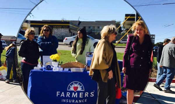 Juanita Vank promoting Farmers® at TX Health Grand Opening