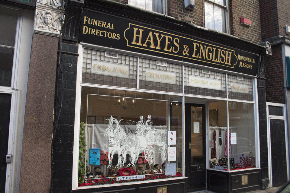 Hayes & English Funeral Directors in Hoxton, London.