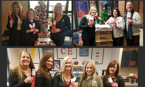 Group photos of agent Robin Decatur with Bixby teachers and support staff, delivering Buy Bixby tickets.