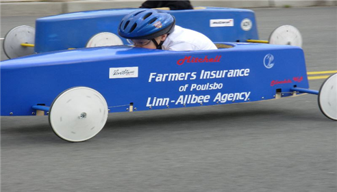 Our sponsored Soapbox Derby car driven by Mitchell.