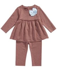 Image of First Impressions Baby Girls 2-Pc. Bow Tunic & Leggings Set, Created for Macy's