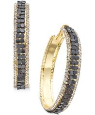 Image of Thalia Sodi Gold-Tone Metal Mesh and Crystal Hoop Earrings, Created for Macy's