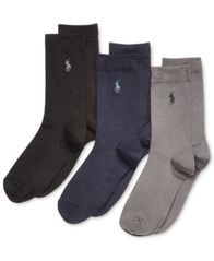 Image of Polo Ralph Lauren 3-Pk. Supersoft Flat Solid Crew Socks, Little Boys & Big Boys