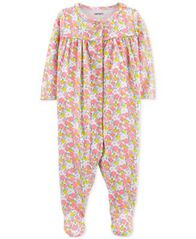 Image of Carter's Baby Girls Floral-Print Cotton Coverall