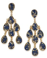 Image of INC International Concepts Gold-Tone Beaded Teardrop Chandelier Earrings, Created for Macy's