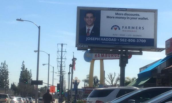 Billboard of Joseph Haddad advertisement.