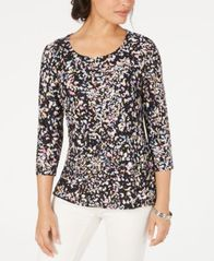 Image of JM Collection 3/4-Sleeve Novelty Printed Jacquard Top, Created for Macy's