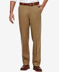 Image of Haggar Premium No Iron Stretch-Waist Classic-Fit Pants