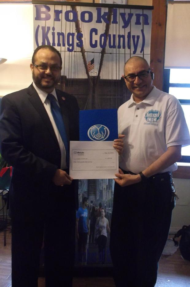 Miguel Rodriguez-Vargas - Miguel presenting an Allstate Grant check to Rick Miranda of The Brooklyn Hispanic Chamber of Commerce