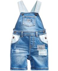Image of First Impressions Rip & Repair Patches Denim Shortall, Baby Boys, Created for Macy's
