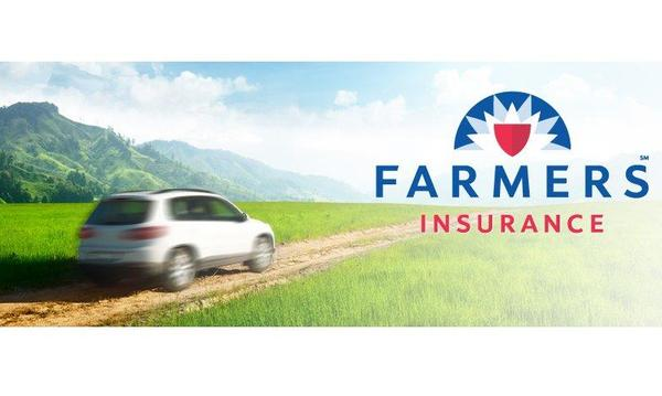 Photo of car driving off into the distance with Farmers logo