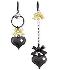 Image of Betsey Johnson Asymmetrical Black Heart Drop Earrings