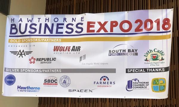Expo banner with several companies