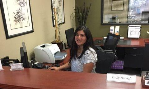 Emily front office reception working hard to provide exceptional customer service.