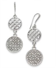 Image of Charter Club Silver-Tone Pavé Double Drop Earrings, Created For Macy's