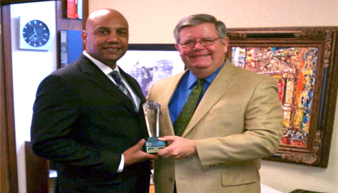 Ralph Payne accepting Life Award from Pepper Williams District 66 Oklahoma City