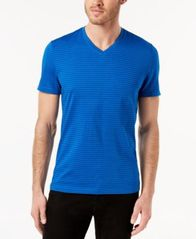 Image of Alfani Men's Space-Dyed Stripe V-Neck T-Shirt, Created for Macy's