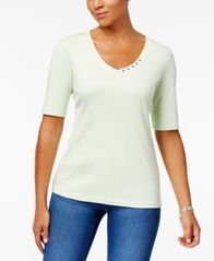 Image of Karen Scott Elbow-Sleeve Cotton Top, Created for Macy's