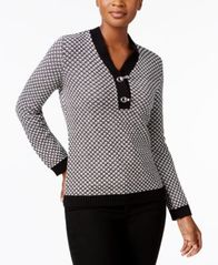 Image of Karen Scott Metallic-Hardware Cotton Sweater, Created for Macy's