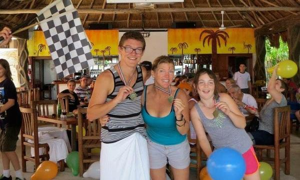 My son, daughter and I holding our 1st place medals after running the Great Race in Cozumel